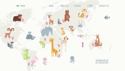 Papiers peints Animals world map vector illustration. Landing page for children online educational platform. Cute cartoon animals in wildlife. Geography concept for kids. Fauna of different continents.
