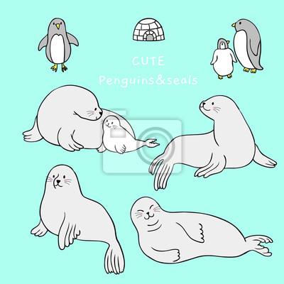 Animaux De Dessin Anime Mignon Vecteur De Phoque Et De Pingouin Papier Peint Papiers Peints Vecteur Faible Definir Myloview Fr