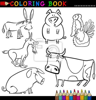 Animaux De La Ferme Pour Livre De Coloriage Ou La Page Papier Peint