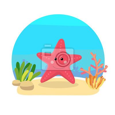 Animaux De La Mer Avec Paysage Illustration De Dessin Anime Papier Peint Papiers Peints Aquatique Corail Marine Myloview Fr