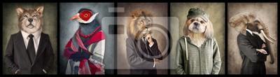 Papiers peints Animaux en habits. Graphique de concept dans un style vintage. Loup, oiseau, lion, chien, éléphant.
