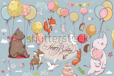 Papiers peints animaux mignons voler avec du ballon