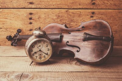 Papiers peints Antique, horloge, vieux, violon, vendange, bois, table