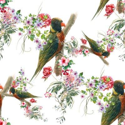 Papiers peints Aquarelle avec des oiseaux et des fleurs, motif transparent sur fond blanc