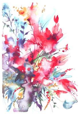Aquarelle Bouquet De Fleurs Belle Eclaboussure Abstraite De Papier Peint Papiers Peints Fond Mariage Collant Myloview Fr