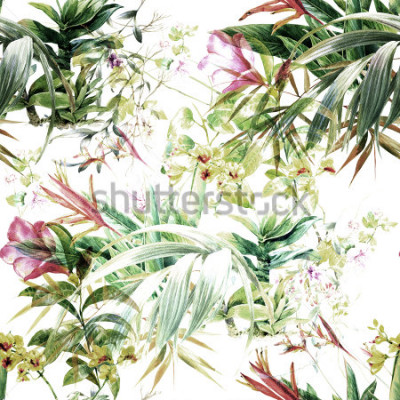 Papiers peints Aquarelle de feuilles et de fleurs, modèle sans couture sur fond blanc