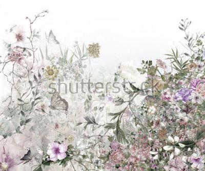 Papiers peints aquarelle de feuilles et de fleurs, sur fond blanc