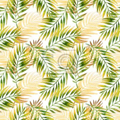 Aquarelle Et Motif De Feuille De Palmier Graphique Dore Papier