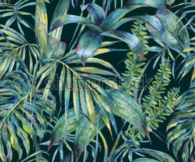 Papiers peints Aquarelle exotique de feuilles naturelles, feuilles tropicales vertes, fougères, jungle dense, illustration d'été botanique peinte à la main sur fond noir