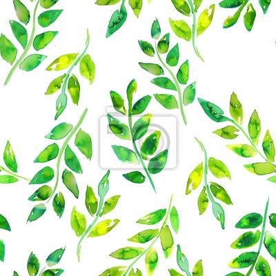 Aquarelle Feuille Verte Dessines A La Main Motif Sans Soudure Papier