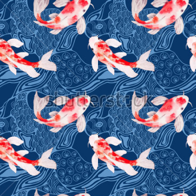 Papiers peints Aquarelle koi poisson texture transparente motif avec des vagues sur fond