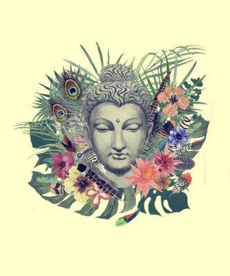 Papiers peints Aquarelle main dessinée illustration avec tête de Bouddha, fleurs, feuilles, plumes.