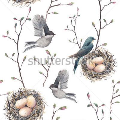 Papiers peints Aquarelle modèle sans couture avec des brindilles de nid, des oiseaux et des arbres. Fond de printemps vecteur dessiné à la main. Papier peint vintage avec hirondelle et oeufs