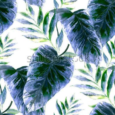 Papiers peints Aquarelle modèle sans couture avec des feuilles tropicales: palmiers, monstera, fruit de la passion. Belle impression allover avec des plantes exotiques dessinées à la main. Maillot de bain design bot
