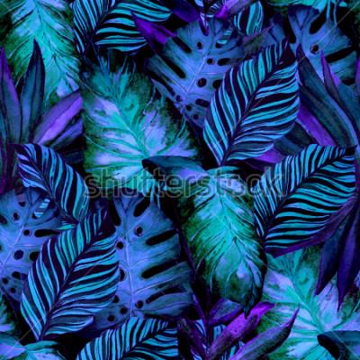 Papiers peints Aquarelle modèle sans couture avec feuilles tropicales: palmiers, monstera, fruit de la passion. Belle impression allover avec des plantes exotiques dessinées à la main. Maillot de bain design bot