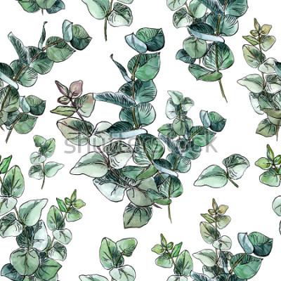 Papiers peints Aquarelle modèle sans fil avec des feuilles et des branches d'eucalyptus bleu bébé sur fond blanc