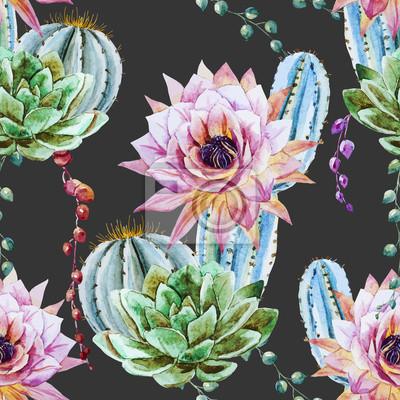 Aquarelle Motif De Cactus Papier Peint Papiers Peints Belle