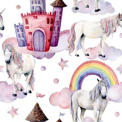 Papiers peints Aquarelle motif de conte de fées avec des licornes. Peint à la main des chevaux magiques, château, arc en ciel, nuages, étoiles isolés sur fond blanc. Fond d'écran mignon pour la conception, impressio
