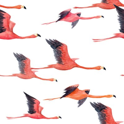 Papiers peints Aquarelle motif flamant rose