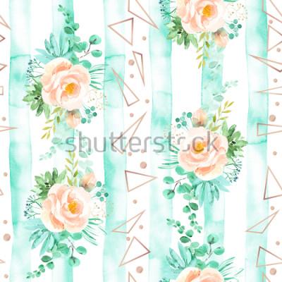 Papiers peints Aquarelle motif floral sans couture dans les couleurs dit rose tendre. Fond géométrique avec des bouquets de fleurs. Roses, plantes succulentes, congé d'eucalyptus ou rose, illustration