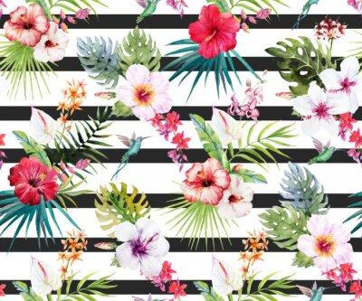 Papiers peints Aquarelle motif floral tropical