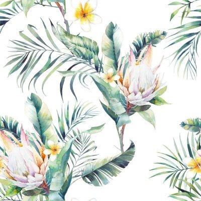 Papiers peints Aquarelle motif sans soudure exotique. Texture répétitive avec des plantes, bouquet tropical: branches de palmier, protea, feuilles de bananier, fleur de frangipanier. Conception de papier peint d'été