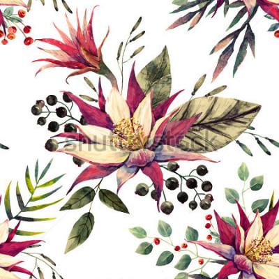 Papiers peints aquarelle motif tropical, fleur de cactus, feuilles de palmier, couleurs rétro
