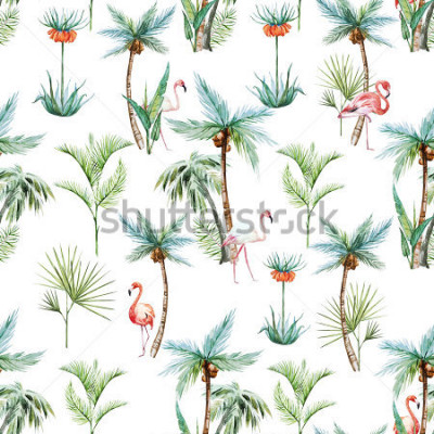 Papiers peints aquarelle motif tropical, palmiers et roses flamantes fond blanc