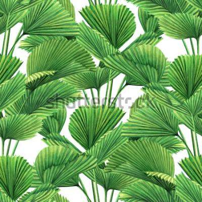 Papiers peints Aquarelle, noix de coco, feuille de palmier, feuilles vertes sans soudure de fond. Aquarelle main dessinée illustration exotique feuille exotique imprime pour papier peint, textile Hawaii aloha modèle