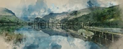 Papiers peints Aquarelle numérique de paysage Panorama bateaux à rames sur le lac avec jetée sur fond de chaîne de montagnes