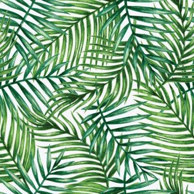Papiers peints Aquarelle palmiers tropicaux feuilles sans couture. Illustration vectorielle.