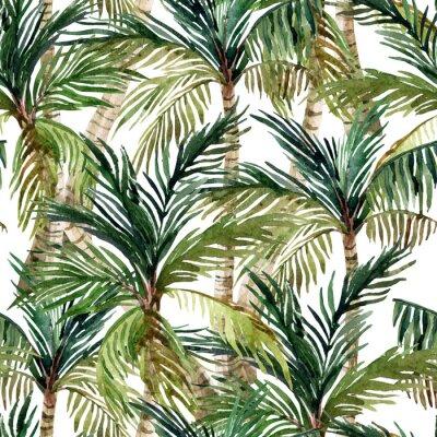 Papiers peints Aquarelle, paume, arbre, seamless, modèle