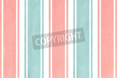 Papiers peints Aquarelle rose clair et fond bleu rayé. Modèle géométrique d'aquarelle.