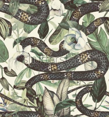 Papiers peints Aquarelle transparente avec des fleurs tropicales, magnolia, fleur d'oranger, vanille, orchidée vanille, feuilles tropicales, feuilles de bananier