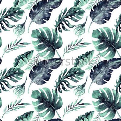 Papiers peints Aquarelle transparente motif de feuilles tropicales, jungle dense. Feuille de palmier peinte à la main. La texture avec l'été tropical peut être utilisée comme arrière-plan, papier d'emballage, textil