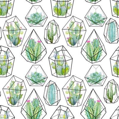 Papiers peints Aquarelle vecteur modèle de cactus