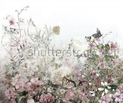 Papiers peints Aquarelles de fleurs colorées abstraites. Printemps multicolore dans la nature