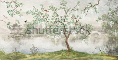 Papiers peints Arbre au bord du lac. Paysage brumeux. Arbre aux oiseaux dans le jardin japonais. la peinture murale, papier peint pour l'impression intérieure