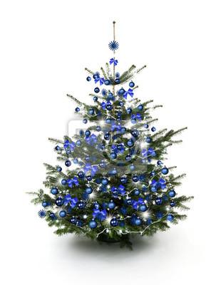 arbre bleu décoré de Noël