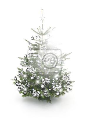 Arbre de Noël décoré d'argent
