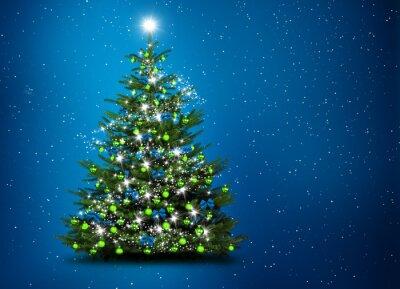 Arbre de Noël en face de fond bleu