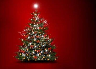 arbre de Noël sur fond rouge