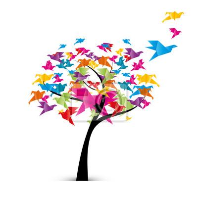 Papiers peints arbre et oiseaux