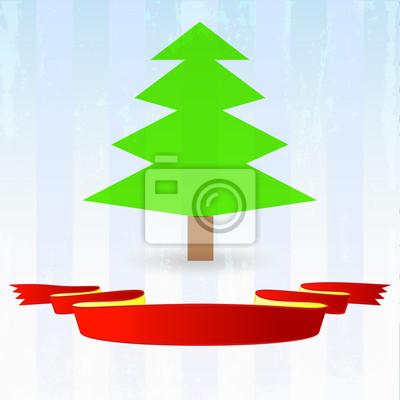 arbre vert avec ruban rouge vers le bas sur fond bleu rayé