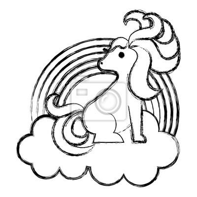 Arc En Ciel Mignon Avec Licorne Kawaii Personnage Design