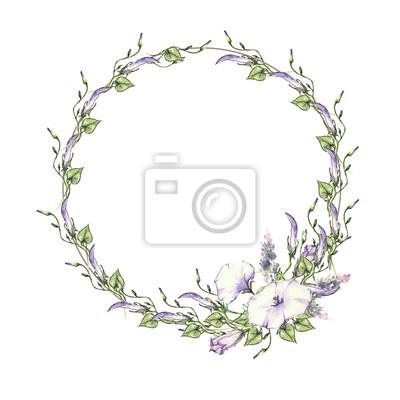 Arrière Plan Avec Des Dessins Daquarelle Fleurs Sauvages Cadre