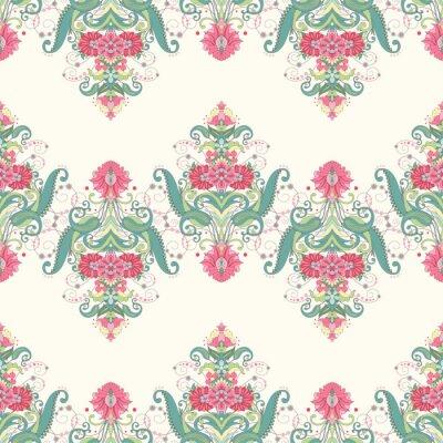Papiers peints Arrière-plan transparent de vecteur. Beau motif floral oriental composé de bordures. Délicat vert et rose.