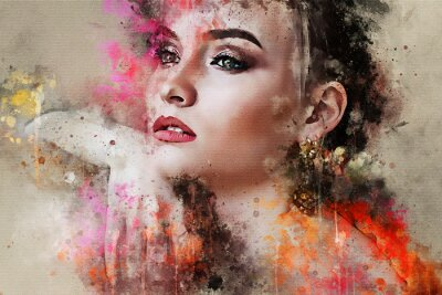 Papiers peints Art coloré esquissé portrait de visage de belle fille abstraite sur fond coloré en modèle de style de mode numérique aquarelle technique mixte mot