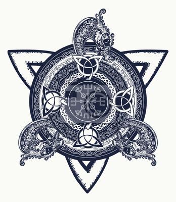 Art De Tatouage De Croix Celtique Et Conception De T Shirt Dragons