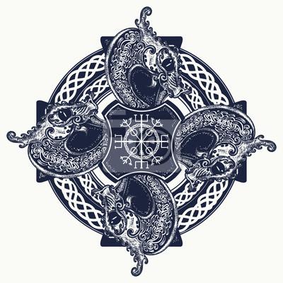 Art De Tatouage De Croix Celtique Et Conception De T Shirt Heaume